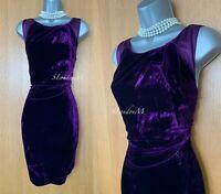 Karen Millen UK 12 Purple Silky Velvet Ruched Cocktail Party Prom Shift Dress