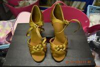 Gold satin Dancelife ballroom / latin dance shoes - size UK 2.5 (P13)