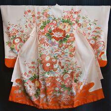 "Vintage Japanese Girl's Kimono Robe Silk Formal Floral ""Peony, Pine and Plum"""