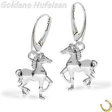 3D Pferde Brisur Ohrringe 925 Sterling Silber Damen Pferd Ohrhänger Geschenkidee