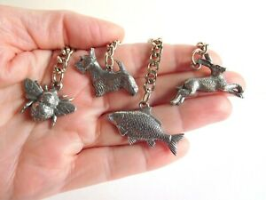Set Of 4 Hand Cast Pewter Keyrings Hare Bee Scottie Dog & Carp  Made In Uk