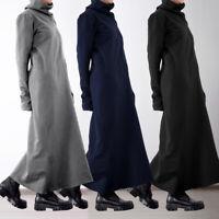 Mode Femme Coupe Slim Robe Chaud Pull à Col Montant Manche Longue Dresse Plus