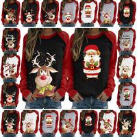 Women Ladies Tee Loose Christmas Blouse Reindeer Shirt Xmas Pullover Jumper Tops