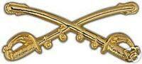 ARMY CAVALRY CROSSED SABERS 2 1/4 X 1  GOLD HAT PIN
