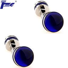 Blue Enamel Double Round Epoxy Cufflinks With Velvet Bag TZG Brand Cuff Links
