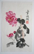 Flor del crisantemo, mamá: original firmada pintura china o bloques de madera Impresión