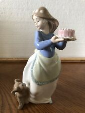 Nao Lladro Figurine 1045 Puppy's Birthday Girl With Cake And Dog