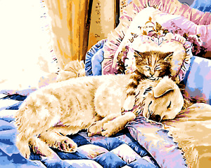 Paint By Numbers Kit Canvas 50*40cm 8074 Dog and Cat in Xmas AU Shipping