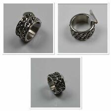 Herren und Damen Biker Ring Edelstahl Gothig, Silber-Silber doppel