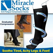 Miracle Socks Pair Unisex Black Anti-Fatigue Dvt Compression Travel Flight Sock