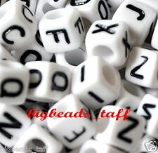 300pcs 7mm cube white mixed alphabets / letters acrylic beads