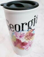 STARBUCKS Ceramic 12 Fl Oz Coffee Tea Mug Tumbler Cup GEORGIA Not Original Lid