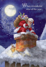 Santa Climbing Down Chimney Box of 18 Christmas Cards by Designer Greetings