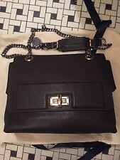 Authentic Lanvin Happy Sac Bag Perforated Leather Brown Handbag