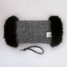 Harris Tweed Black & Grey Herringbone Premium Faux Fur Trimmed Hand Muff Warmer
