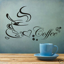 HOT Removable Kitchen Sticker Coffee Cup Heart Home Decal Vinyl Art Wall Sticker