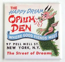 Happy Dream Opium Den FRIDGE MAGNET (3 x 3 inches) New York City dragon drugs
