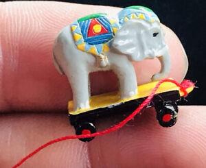 Vintage Dolls House Miniature Elephant Rolling Push Along Toy Signed W Min UK