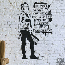 Banksy Stencil 'Achieve Greatness...' Spraypaint Girl Wall Painting Graffiti Art