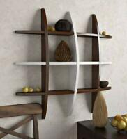 Wall Shelf Rack Globe Shape Storage Floating Wall Shelf -Brown&White, Home Decor