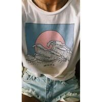 So It Is Ocean Wave Aesthetic T-Shirt Women Tumblr Fashion White