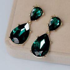 Costume Earrings Studs Gold Two Teardrop Green Emerald Class Wedding Retro B13