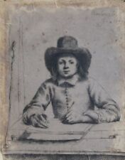 REMBRANDT VAN RIJN - ETCHING PAPER - BOY WRITING - SIGNED DATED 1637, TO RESTORE