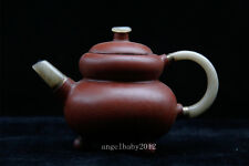 China Old Antique handmade yixing gourd zisha teapot hetian jade handle Spout