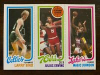 1980-81 Topps LARRY BIRD / MAGIC JOHNSON Rookie #139 #34, Julius Erving #174