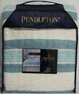 *NEW* Pendleton Hayes Stripe Quilt Full Queen Aqua Multi