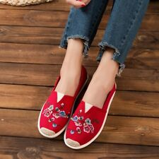 Womens Retro Canvas uk2.5-7.5Chinese Style Embroidered  Loafers Flat Heels Shoes