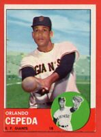 1963 Topps #520 Orlando Cepeda EX-EX+ WRINKLE San Francisco Giants FREE SHIPPING