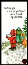 Lucy Riggs Christmas Children Carolers Dog Bird- Greeting Card New W/ Tracking
