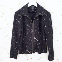 Clara Sun Woo Jacket Size XS Black Silver Splatter Full Zip Textured Knit Artsy