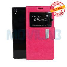 Funda Sony D6603 Xperia Z3 tapa tipo libro gel soporte y ventana rosa fucsia