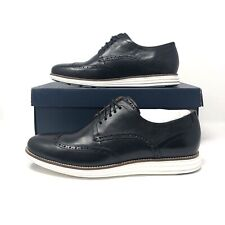 Cole Haan Original Grand Shortwing Oxford, Black Leather White - Mens Size 11.5