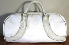 Vintage MACGREGOR Pro Only Vinyl with Leather Trim White Beige DUFFLE Bag LARGE