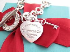 "Authentic Tiffany & Co Silver Return To Heart Key Toggle Bracelet 7.5"""