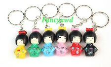 lot of 24 pcs Japanese KOKESHI Doll Key chain Metal Key Ring Charms Party Gifts