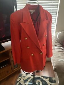 Christian Dior Womens Double Breasted Wool Suit Jacket Blazer W/CD Gold Buttons.