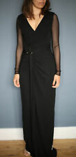 Halston & Heritage Black Long Party Dress Size 0 fitted V neck - RRP 780