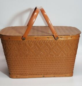 Vintage MCM Wicker Rattan Picnic Basket with Metal Handles LARGE