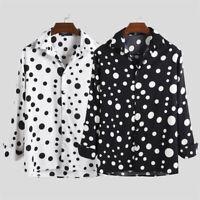 Vintage Men's Polka Dot Long Sleeve Button Down Shirt Slim Fit Shirt Blouse Tops