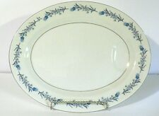 "Haviland ""Clinton "" 14 X 11 "" Oval Meat Platter Ivory with Blue Flowers EC"