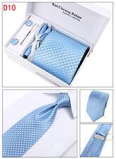 Mens Tie Set Dress Silk Tie Cufflinks Hanky Tie Clip Gift Box Blue Pattern