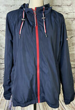 Tommy Hilfiger Navy Blue Hooded Windbreaker Jacket Womens...