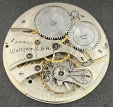 Waltham Grade 1235 Pocket Watch Movement 12s 17j OF 1924 Colonial B Ticks F4867
