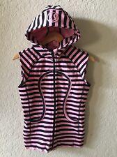 Womens Lululemon Pink Black Striped Sleeveless Scuba Hoodie 4 Hooded Sweatshirt