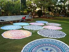 "Indian 10 PC Wholesale Lot Round Mandala Beach Seat Yoga Mat Towel Tapestry 72"""