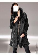 Patrizia Dini Ledermantel Gr. 34 schwarz Mantel mit Kunstfell NEU